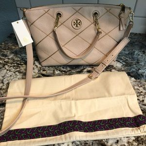 Tory Burch Whipstitch Logo Slouchy Satchel