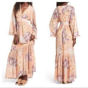 NEW Wayf Viola bell sleeve maxi dress