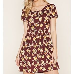NWT Forever 21 Brown Rose Smock dress