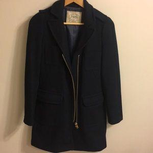 Zara navy blue zip pea coat