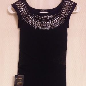 HoT! bebe black strertch mini dress mesh accents