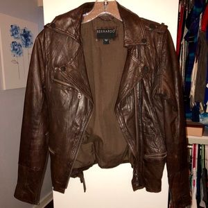 Bernardo Brown Leather Utility Jacket