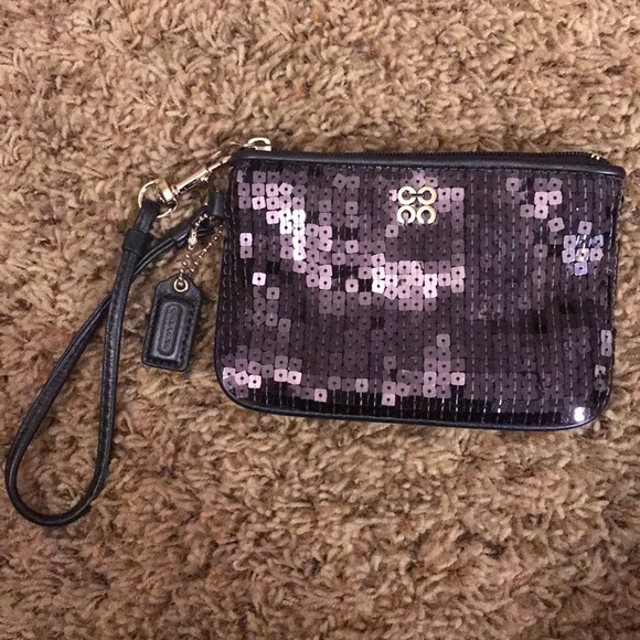Coach Handbags - Coach Wristlet Navy Sequined