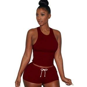 Burgundy shorts set w tank top