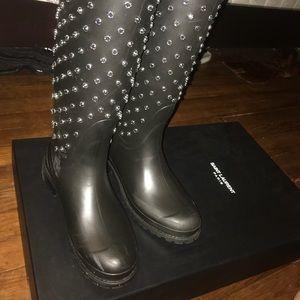 Saint Laurent studded rain boots