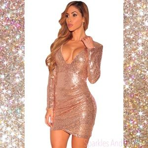 Last One (S) Champagne Ruched Sequin Dress