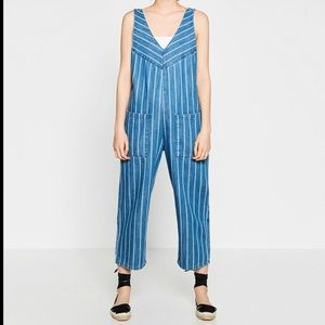 Zara | striped denim overalls