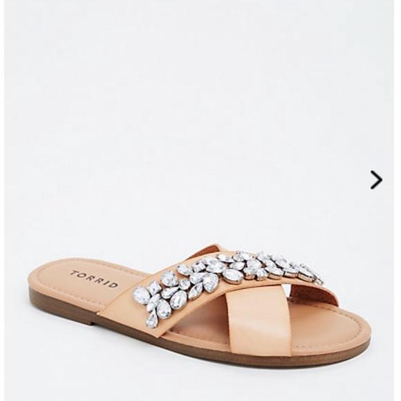 6fec71d3f7f7 Wide Width Jeweled Gemstone Crisscross Sandals