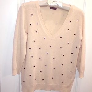 Vneck Sequined Sweater