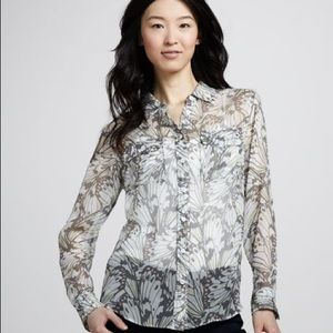 Equipment Slim Signature Butterfly-Print Blouse