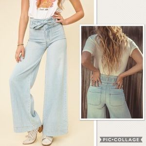 NWOT Free People Augusta Belted Flare Jeans