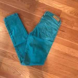 Zara green denim jeans