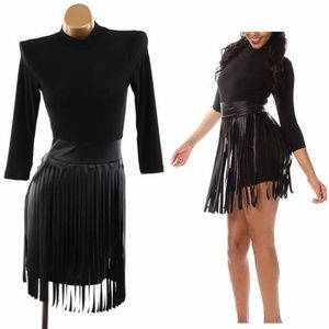 Plus Black Faux Leather Fringe Skirt Bodycon Dress
