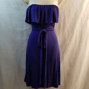 BCBG MAXAZRIA strapless dress purple size L tie