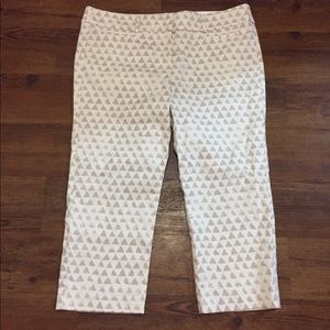 Brand new off white colored crop pants w/ pattern