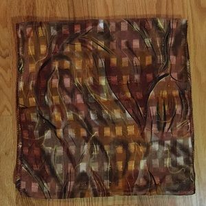 """Colorful scarf : Brown, Gold, Some Reds 13"""" x 52"""""""