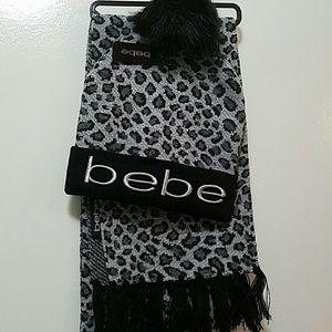BEBE scarf and beanie hat Set Animal Print