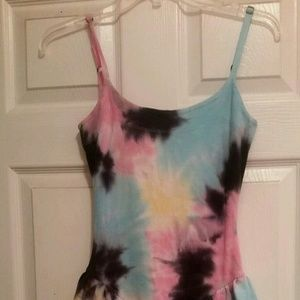 BETSEY JOHNSON TIE DYE PEPLUM STRETCH MINI DRESS S