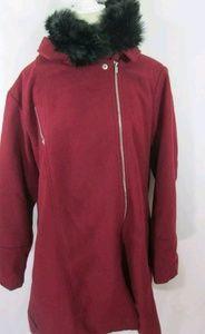 Ashley Stewart Red/Burgundy Mid Length Coat Jacket