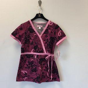 Koi floral Kathryn best cancer scrub top size XS