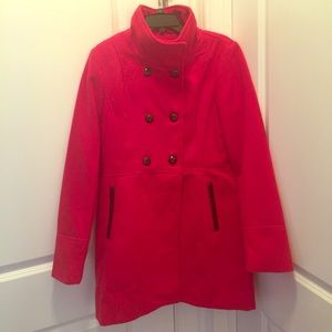 A. Byer Red Peacoat with faux leather trim - XL