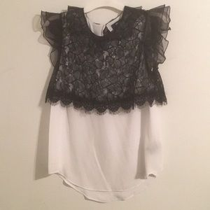 Prabal Gurung For TArget White Top w/Black Lace