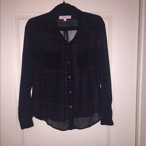 LOFT Never worn plaid button front blouse!