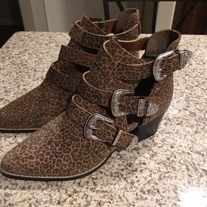 Topshop marmalade Leopard Buckle booties Boots