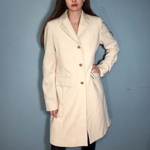 J. Crew Cream Wool Trench Coat Size 10 Tall