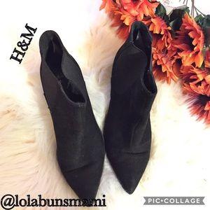 H&M Black Ankle Suede Booties