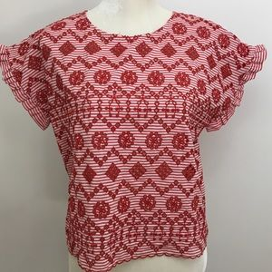 Zara basic striped floral embroidered top  medium