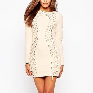 Asos nude lace up dress