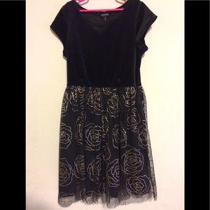Girls Size 14, Velvet and Nylon, metallic roses