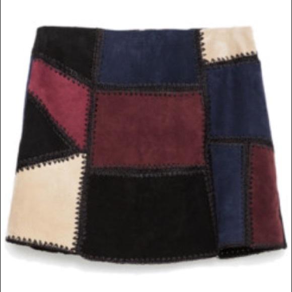991fd38c4 Zara Skirts   Suede Patchwork Mini Skirt   Poshmark