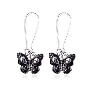Jewelry - Black Butterfly Skull Dangle Earrings
