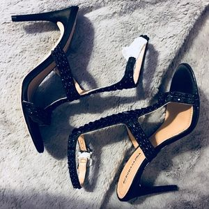 BCBG X MAX AZRIA Sequined Ankle Strap Heel