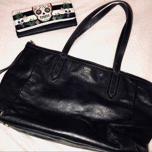 Fossil black large handbag