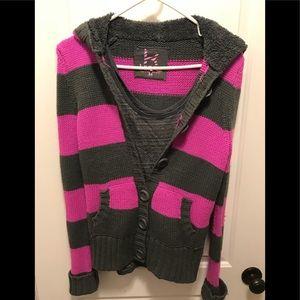 Pac Sun Kirra striped sweater with matching tank