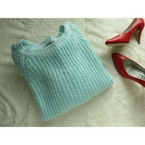 Vintage Chunky Knit Aqua Pastel Warm Sweater M