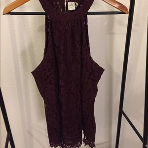 Maroon Lace Tank Top