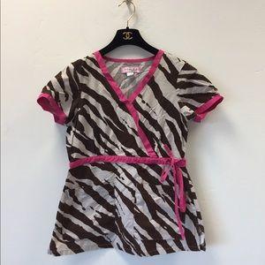 Koi Kathryn pink zebra print scrub top size XS