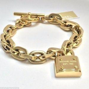 Michael Kors Padlock Gold-Tone Toggle Bracelet