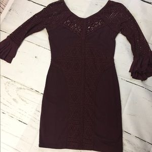 Free People Lace Body Con Dress with Flare Sleeve
