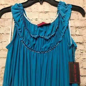 Melissa Masse turquoise plus size maxi dress NWT