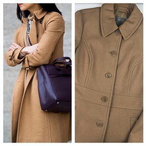 Ann Taylor Camel Wool Blend Long Coat - Size 10
