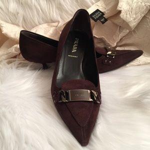 Prada Brown Suede Kitten Heels Size 36.5/6.5