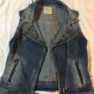 Adorable distressed jean vest with studs medium