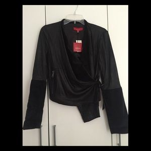 RED Saks Fifth Ave Black Moto Cropped Jacket