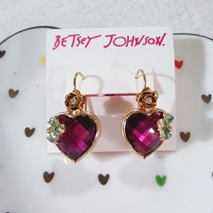 Betsey Johnson Pink Heart Stone Teardrop Earrings