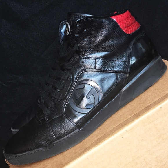 Gucci High Top Sneaker Black/Red Shoes Size 10 Men